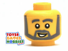 *NEW* LEGO Minifigure Minifig Head Old Man Smile Beard Grandpa City Worker #388