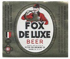 1940's Fox De Luxe Beer12 oz. IRTP Foil Label - Chicago, IL