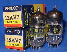 NOS / NIB Matched Pair Philco 12AV7 Black Plate Twin Triode Tubes 1952 Date
