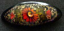 Russian WOOD  HANDPAINTED BARRETTE  HAIR PIN LARGE #5