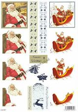 Father Christmas Foil Accent Die Cut 3D Decoupage Sheet Card Making NO CUTTING