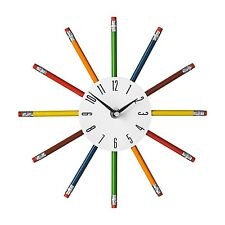 PREMIER HOUSEWARES 26CM MULTI COLOUR PENCIL BEDROOM HOME OFFICE WALL CLOCK NEW