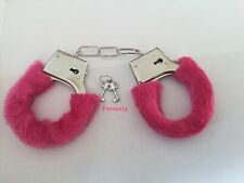 FURRY FLUFFY HANDCUFFS HOT PINK FANCY DRESS HEN NIGHT STAG DO PLAY TOY-WITH KEY