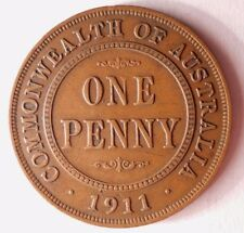 1911 AUSTRALIA PENNY - RARE KEY DATE - High Value Coin - FREE SHIPPING