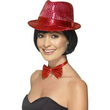 Women's Red Sequin Trilby Hat Fancy Dress Dance Show Gangster Hen Party Fun