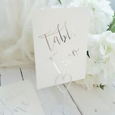 silver foil table numbers 1-10 wedding table numbers card silver or gold