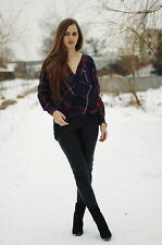 NEW ZARA WOMAN CHECKED NAVY RED CROSSOVER TOP BLOUSE Sz L, BLOGS FAVE