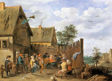David Teniers Younger - Merry Peasants outside an Inn  - 24'  CANVAS