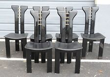 6 pcs RARE 70's MODERN ITALIAN PIERRE CARDIN BLACK LACQUER & LEATHER SIDE CHAIR