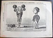 DAUMIER, LITHOGRAPHIE ORIGINALE, LA REGENERATION DE L'HOMME PAR LA GYMNASTIQUE