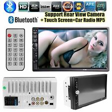 "7"" HD Touch Screen Double Car Stereo Player FM Bluetooth Radio Camera GPS"