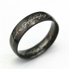 Size10 Black Colors Stainless Black IP Lord of the Ring, The One LOTR Band Ring