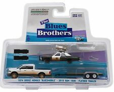 1:64 GreenLight *HITCH & TOW* BLUES BROTHERS Dodge Ram w/Trailer & Bluesmobile