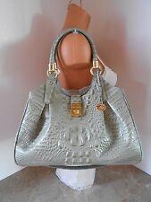 New BRAHMIN Elisa SILVER SAGE Embossed Leather Shoulder Bag NWT $375