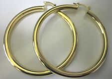 14 karat gold plated 2 3/4 inch large thick lightweight hoop earring sale