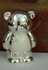 Teddy Bear Money Box Silver Plated Baby Christening Piggy Bank 12cm SECONDS New