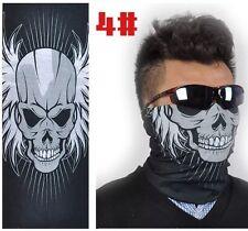 Men Grey Skull Face Pattern Neck Shield Seamless Bandana Mask Wind Protector
