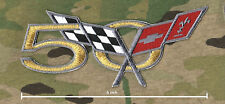 CHEVY CORVETTE RACEING TEAM GOLD-THREAD VETTE 50-YEAR ANNIVERSARY IRON-ON PATCH