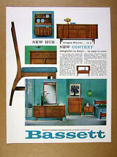 1963 Bassett Context Collection aragon walnut furniture vintage print Ad