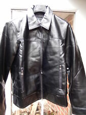 "Andrea Ermanni Black leather Look Jacket ""Large""Zip up Shiny look,cuffs & collar"