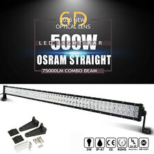 500W OSRAM 52INCH LED Light Bar 6D+ Flood Spot Combo Beam For Offroad UTE  Lamps