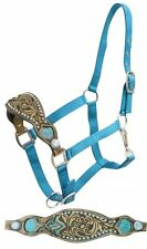 TEAL Nylon Bronc Filigree Leather Noseband Adjustable Horse Halter Silver Concho
