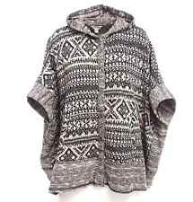 LUCKY BRAND GEO PATERN JACQUARD TERRY HOODED PONCHO SWEATER JACKET ONE SIZE