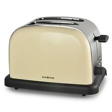TOP TOASTER DESIGN 2 TRANCHES KLARSTEIN GRILLE PAIN LOOK RETRO CREME 1000W INOX