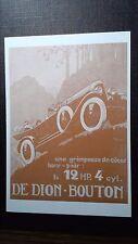 CPM PUBLICITE L'AUTOMOBILE AU DEBUT DU SIECLE DE DION BOUTON LA 12 HP. 4 CYL.