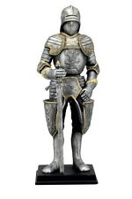 """11"""" Medieval Armored Knight Holding Sword Statue Battle Warrior Sculpture"""