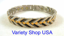 "Stainless Steel Magnetic 8-1/2"" Bracelet Black & Gold 100,000 gauss SS68BG"