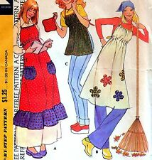 Vintage 70s APRON & POTHOLDER Sewing Pattern ONE SIZE Retro APPLIQUE Ruffle