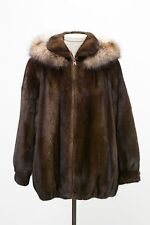 EUC Brown MAHOGANY MINK FUR Jacket w/ Hood & Crystal FOX Trim Size (WOMEN'S) 14