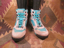 Womens Vintage Vasque Grey Teal Nubuck Lightweight Hiking Ankle Trail Boots