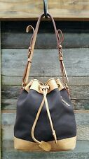 Dooney & Bourke Drawstring Tote Handbag, Canvas and Leather Shoulder Bag