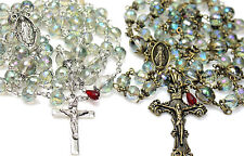 Antique Bronze/ Silver Rose Green Crystal Rosary Rosario & free Gift Mothers day