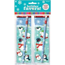 Amscan Favors Mega Pack Xmas - Pencil Eraser 12 Christmas Ice Skating Polar Pals