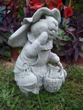 MS COTTONTAIL BUNNY RABBIT CEMENT STATUE PAINTED EYES & ANTIQUED WHITE