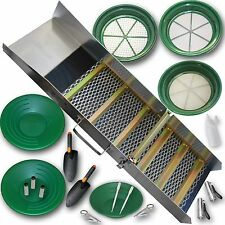 "ULTIMATE GOLD PANNING KIT - 36"" Sluice Box, Classifiers, Pans, Tweezers, vials"