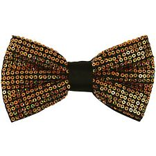 New in box Men's Pre tied bow tie Only Polyester Sequins Gold formal party