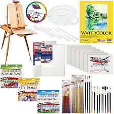US Art Supply 118-Piece Custom Artist Paint Kit w/ Coronado French Field Easel