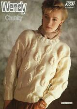 "WE3053 LADIES CHUNKY LEAVES SWEATER KNITTING PATTERN 30-40""/76-102cm"