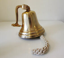 Large Marine Brass Plated Ships Bell  - Perfect For Front Door or Garden - Loud