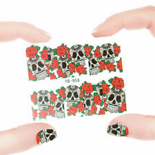 Nail Art Manicure Water Transfer Decal Stickers Flowers & Skull YB958
