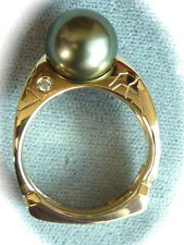AMAZING  10.5MM BLACK GRAY TAHITIAN SOUTH SEA PEARL 14K YG DIAMOND RING