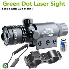 Tactical Green Dot Laser Sight Rifle Scope+Switch+Picatinny Rail+Barrel Mounts