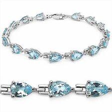 Bezauberndes Blautopas-Tropfen-Armband/925 Silber-Rhodiniert-12,75 Karat