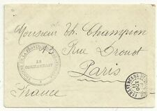 1915  MADAGASCAR TO FRANCE WW1 COVER TROUPES DE LA PROVINCE LE COMMANDANT CACHET