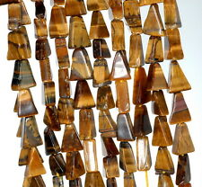 7X6-11X8MM COGNAC TIGER EYE GEMSTONE YELLOW TRIANGLE NUGGET LOOSE BEADS 14-15""
