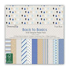 "BACK TO BASICS TRUE BLUE COLLECTION - Taster Pack of 6""x6"" Papers - Dovecraft"
